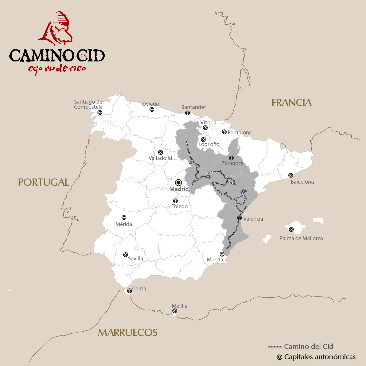 Mapa Camino del Cid / The way of El Cid Map - Pulse en la imagen para ampliar / Click to zoom