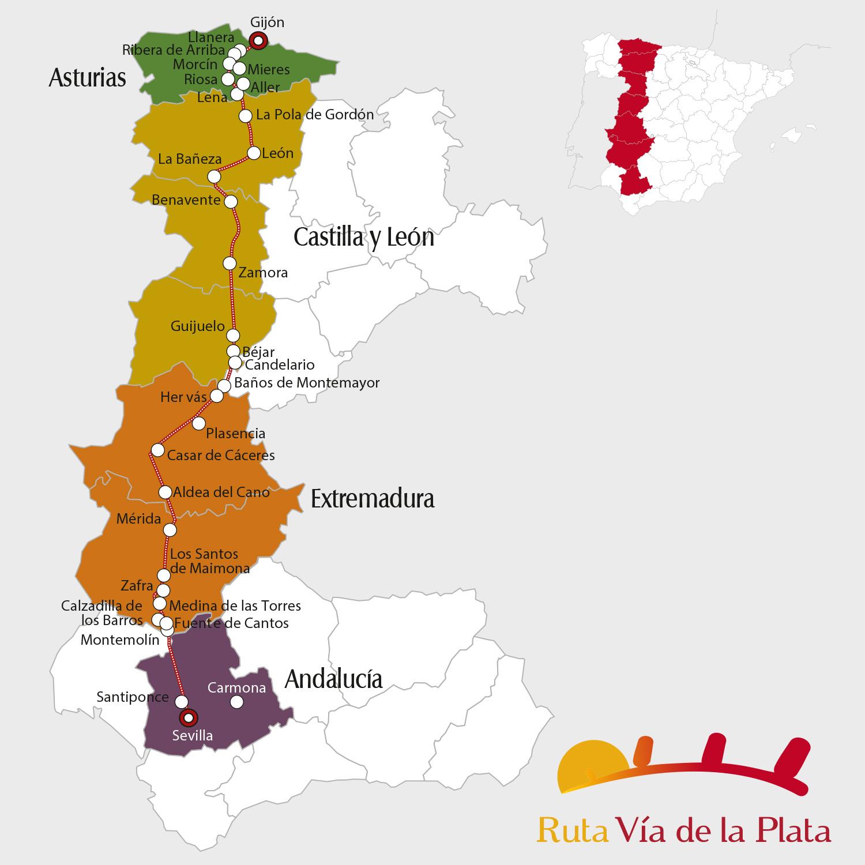 Mapa Ruta Vía de la Plata / Via de la Plata Route Map - Pulse en la imagen para ampliar / Click to zoom